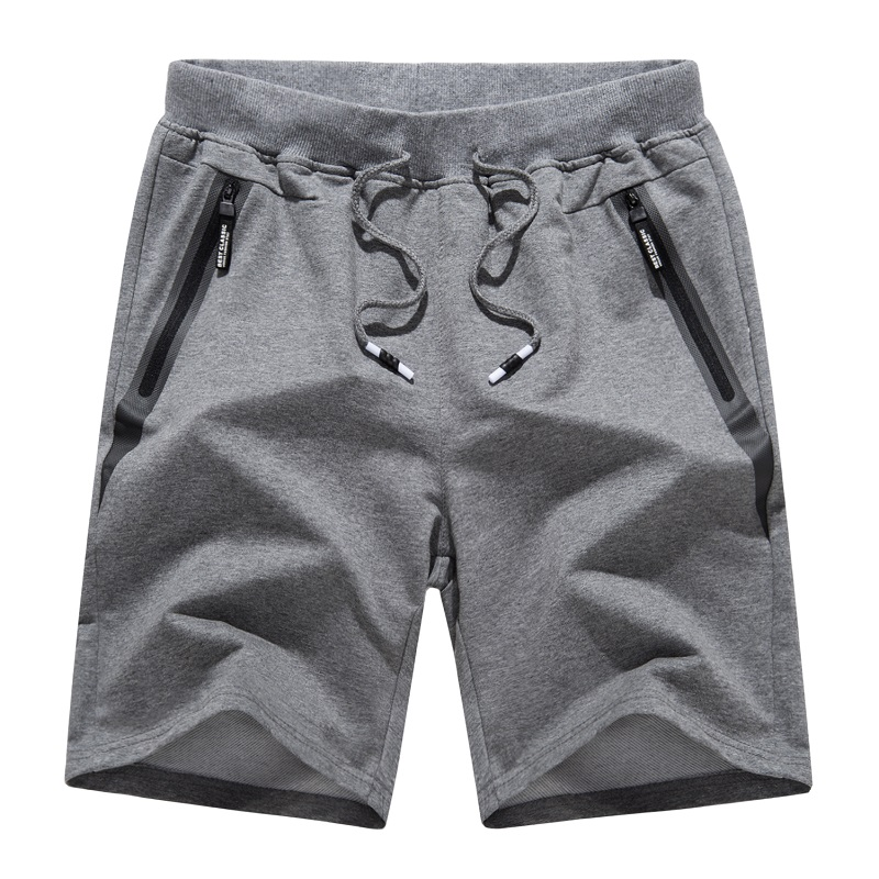 Mænd s Cotton Jogger Casual Working Shorts Running Shorts med Zipper Pockets Loose Leg Bottom Active